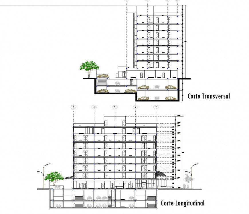 Section high rise building plan autocad
