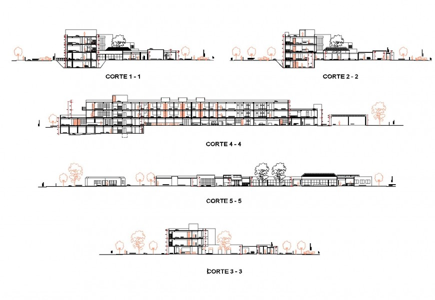 Section hospital plan autocad file