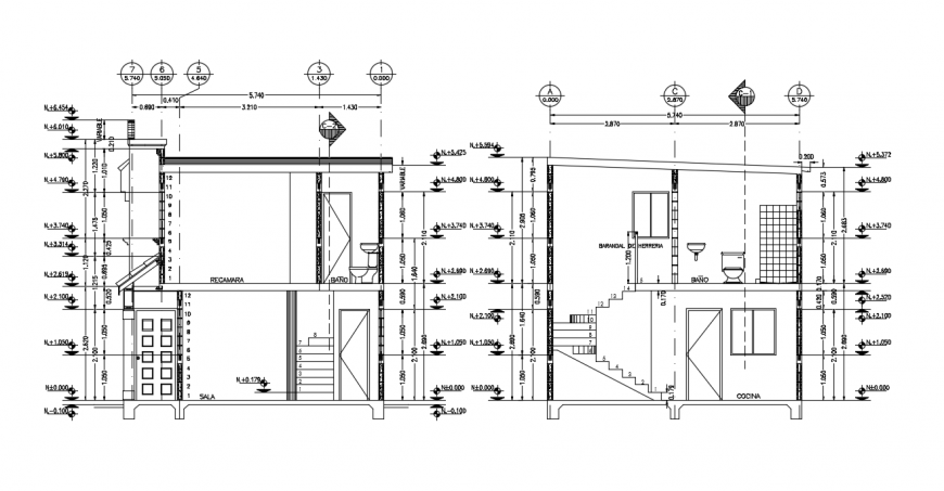 Section house detail  and dimension dwg file