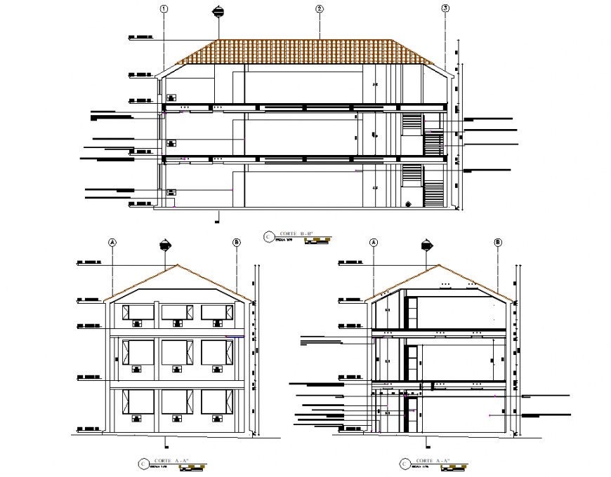 Section housing architect planning layout file