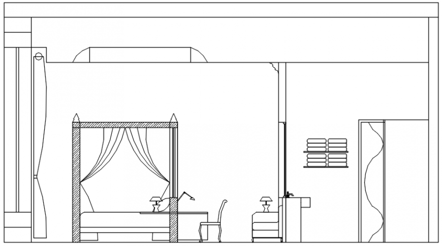 Section in A axis of hotel of AutoCAD file