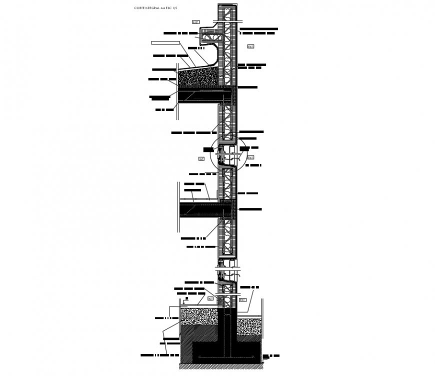 Section integral details of corporate multi-level building dwg file