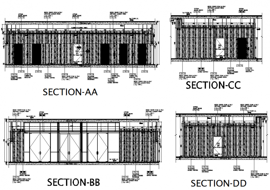 Section Lift lobby wooden cladding detail dwg file