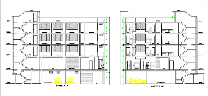Section of Architectural based lodging house design drawing