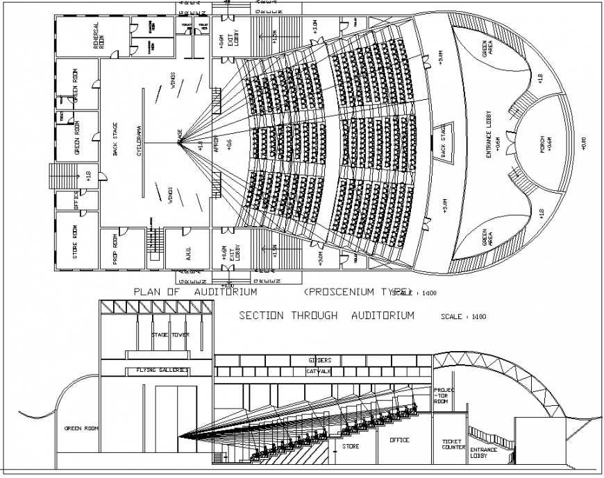 Section of auditorium detail dwg file