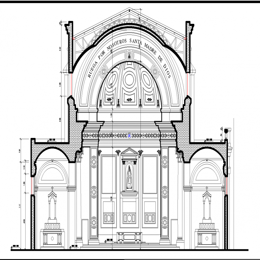 Section of cathedral plan autocad file