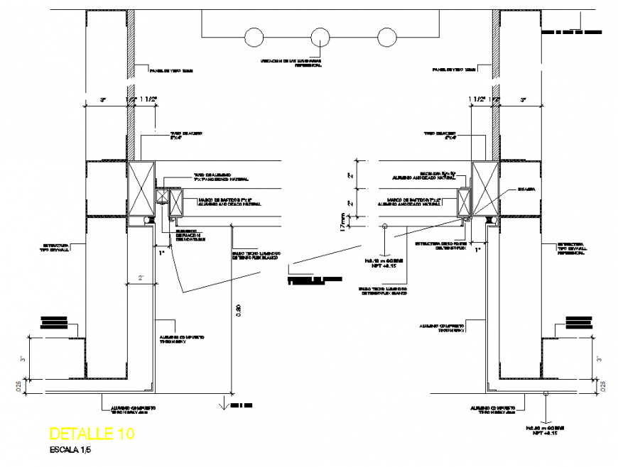 Section of ceiling detail with tens layout file