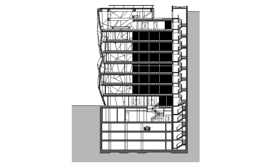 Section of high rise commercial building plan autocad file