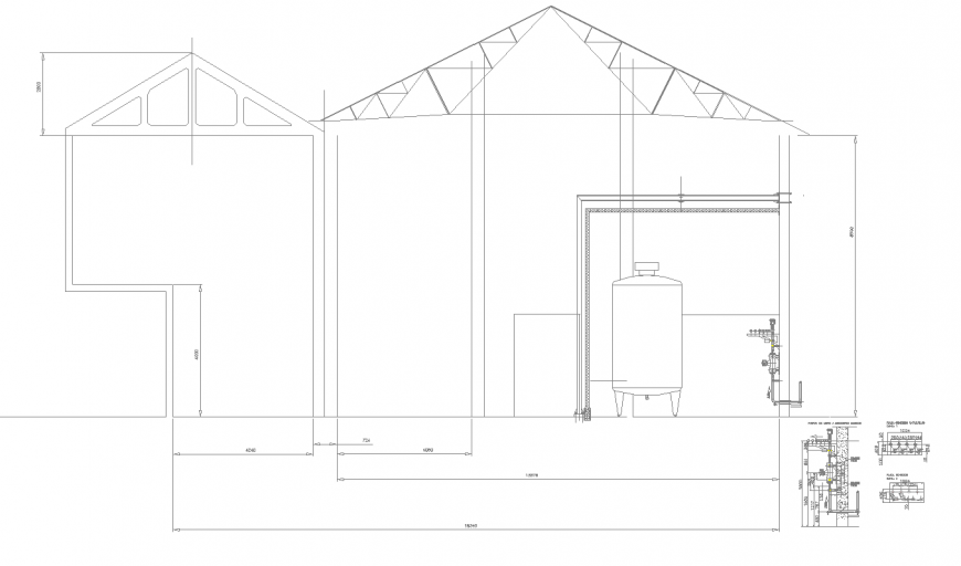 Section of industrial shade in dwg file,