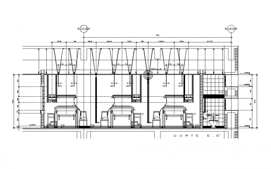 Section of internment room of hospital cad drawing details dwg file
