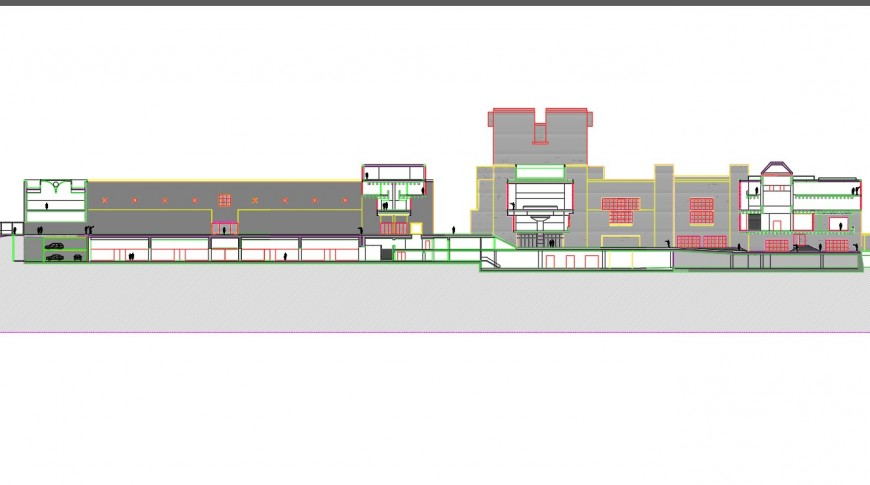 Section of restaurant building plan layout file