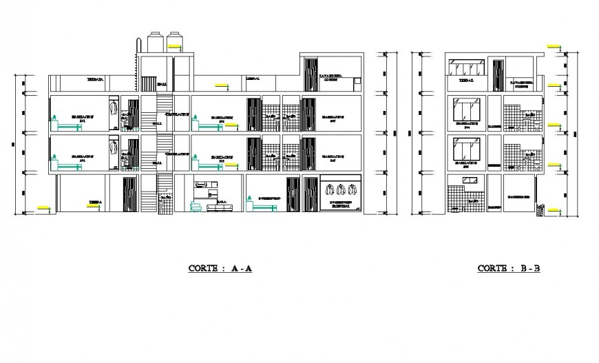 Section of single family home planning detail dwg file