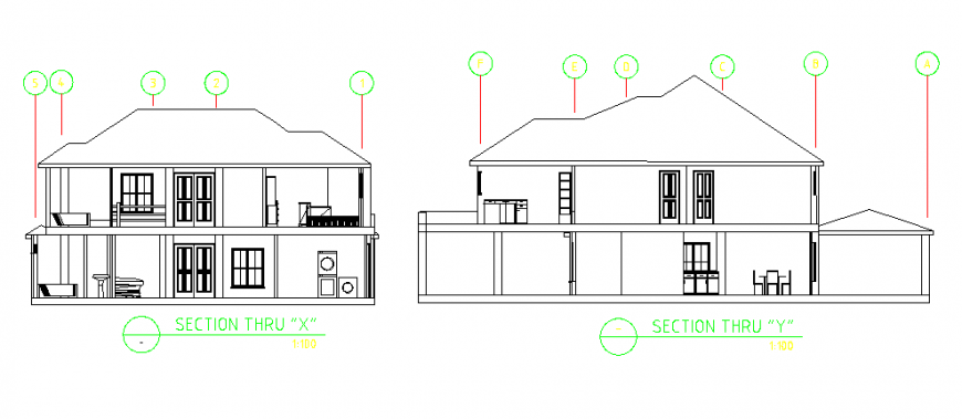 Section of two storey residential building design drawing