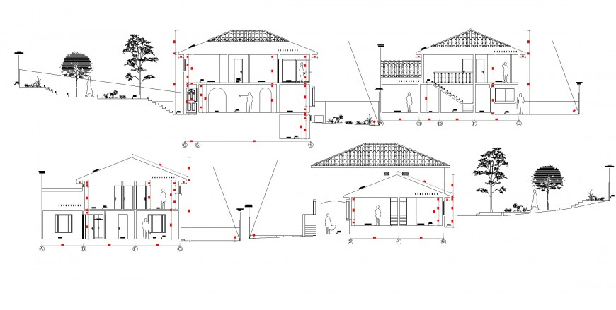 Section one family housing plan autocad file