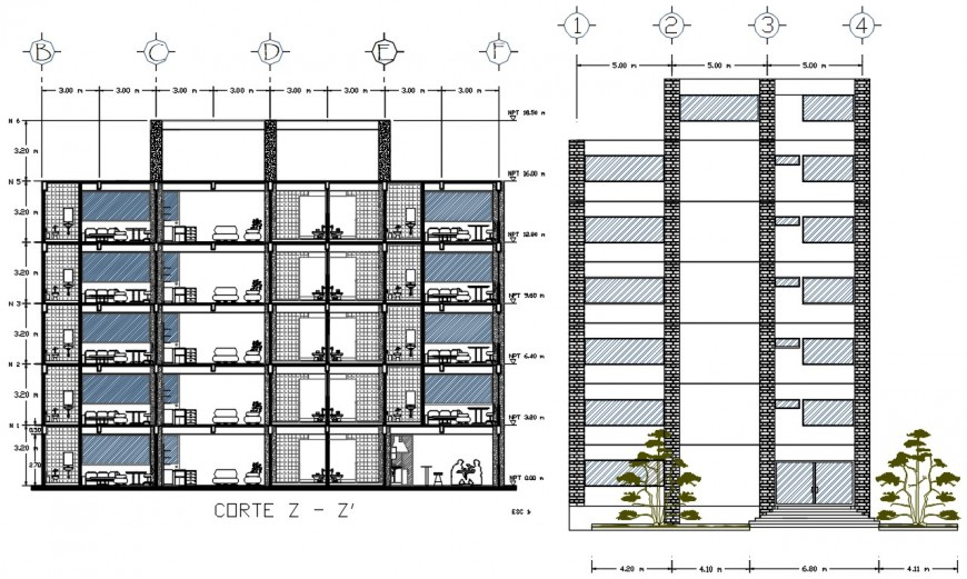 section plan and elevation design of cad file