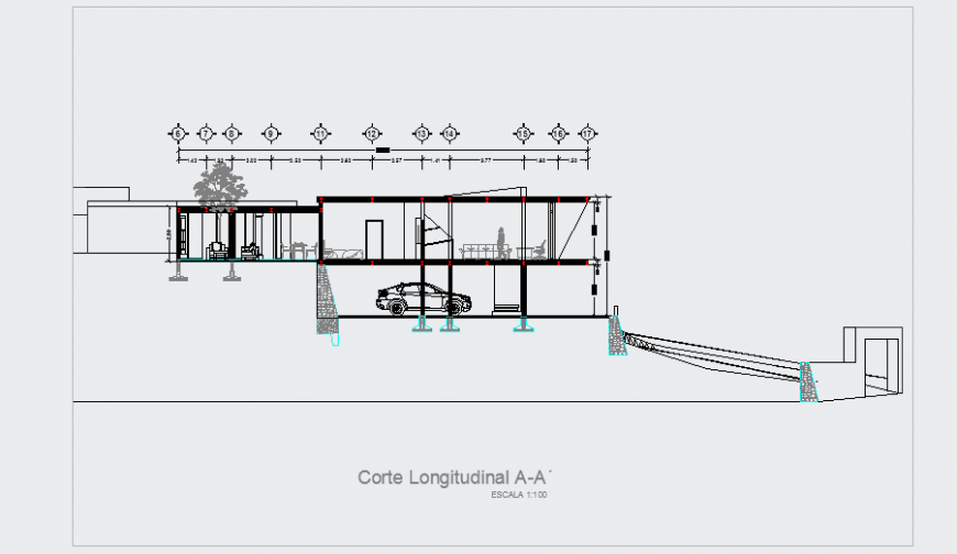 Section plan design drawing for modern house design