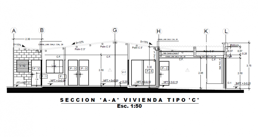 Section plan design drawing of villa design