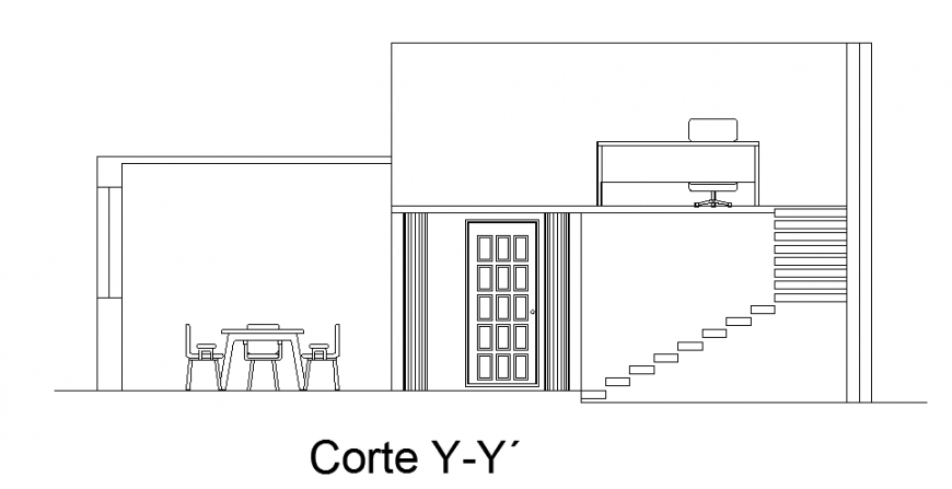 Section plan design of cottage design drawing