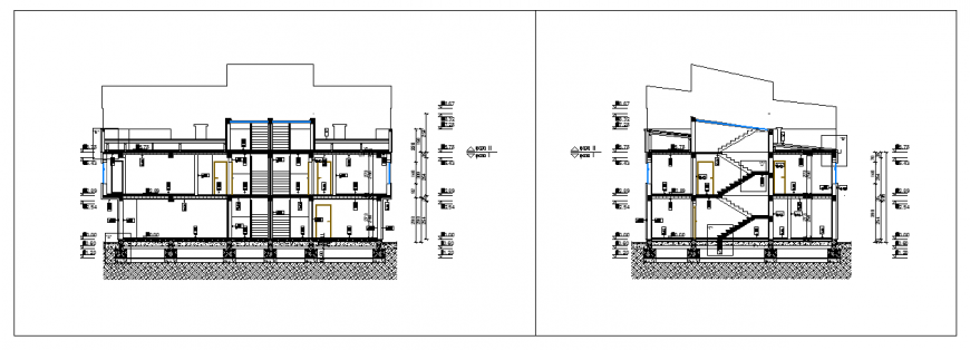 Section plan design of duplex house design drawing