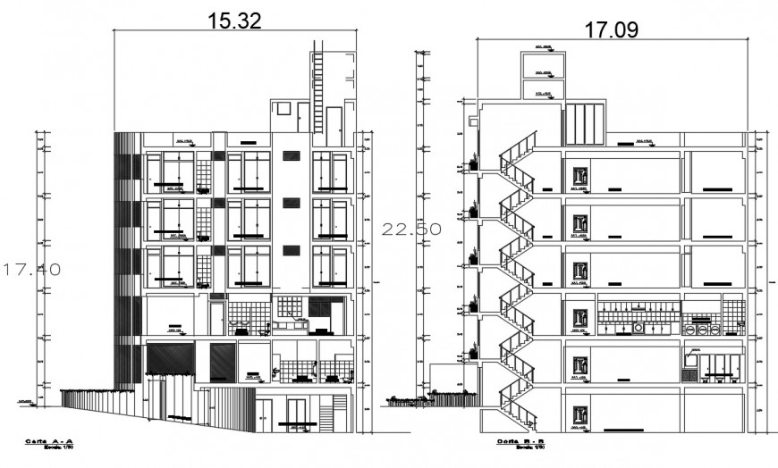 section plan hostel project detail cad file