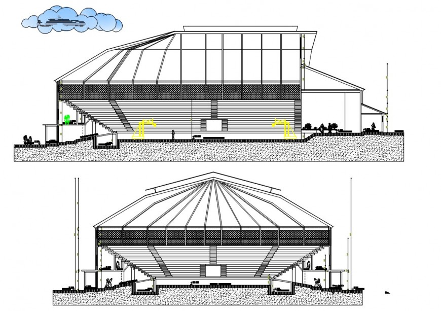 section plan of stadium project detail cad file