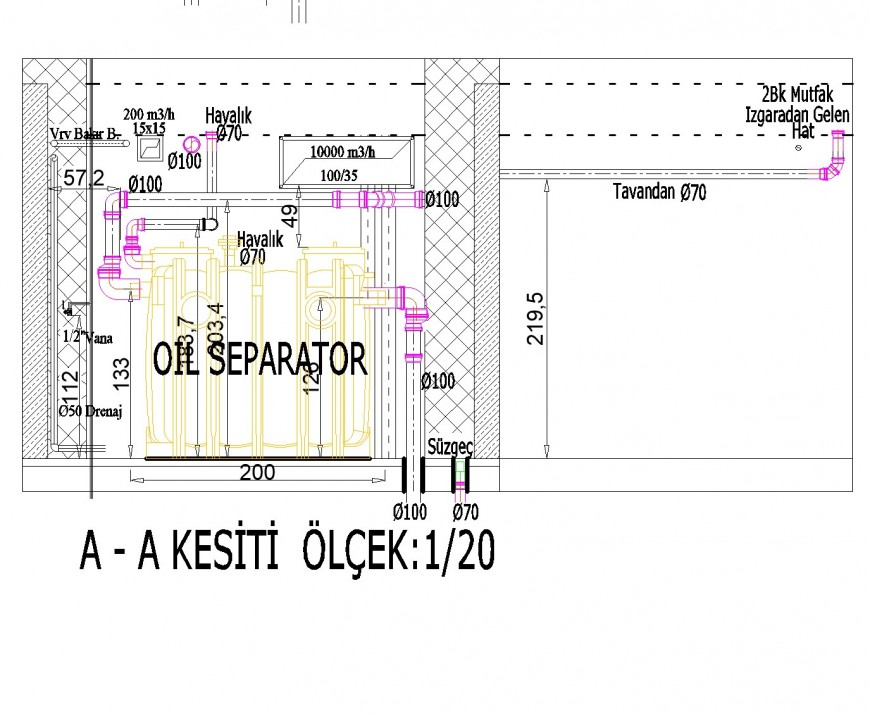 Section tank plan autocad file