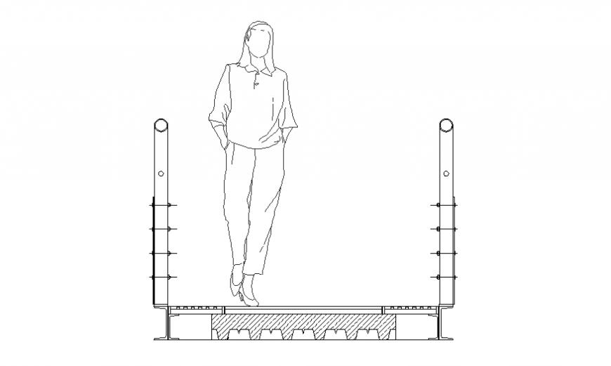 Section vertical garden catwalk cad drawing details dwg file