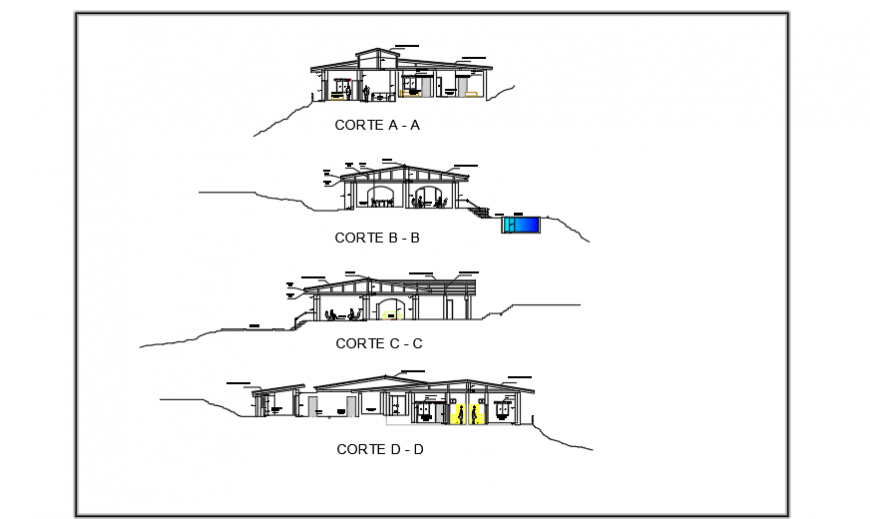 Section view design of country house design drawing