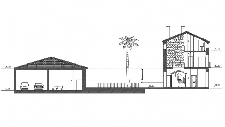 Section view of bungalows in AutoCAD file