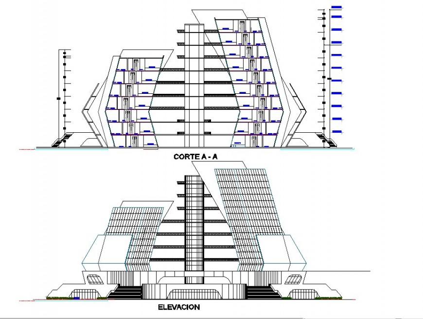 Sectional  detail of a modern building design model
