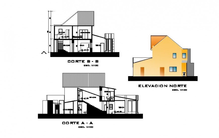 Sectional and elevation detail of architectural detail of residential area dwg file