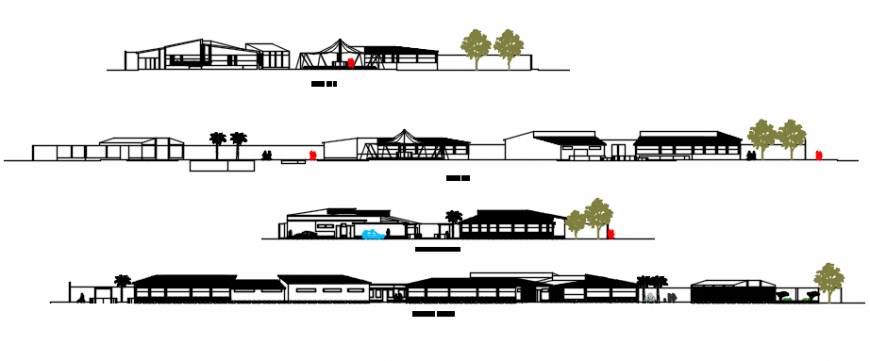 Sectional and elevation view of restaurant auto cad file