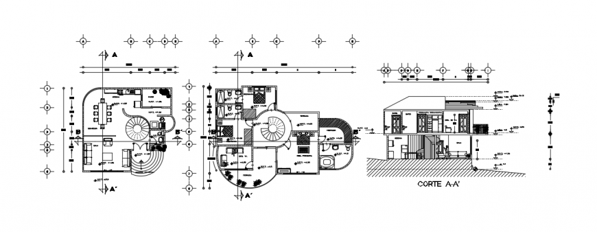 Sectional and floor plan drawings of residential house 2d view autocad file
