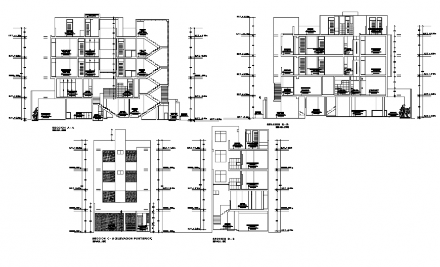 Sectional detail and elevation detail of a building drawing dwg file