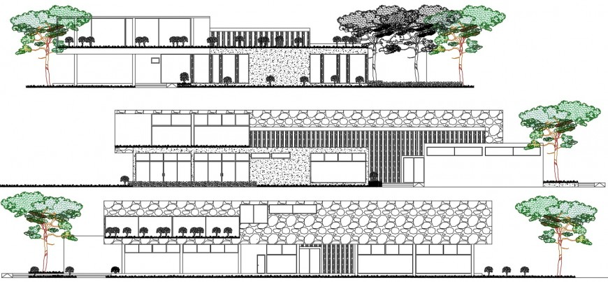 Sectional detail and elevation of a library