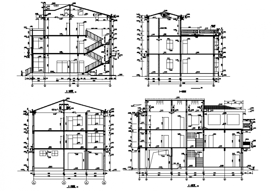 Sectional detail of a building with dimension detail dwg file