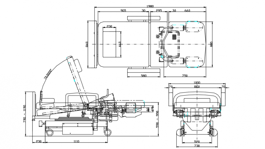 Sectional detail of a hospial bed and top view 2d dwg file