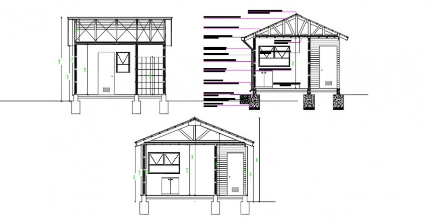 Sectional detail of a house dwg file