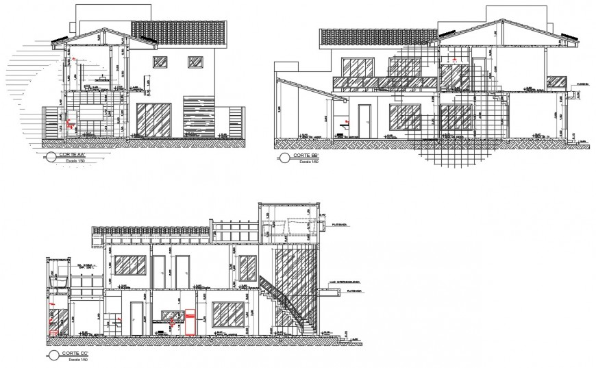 Sectional detail of an apartment 2d view CAD block autocad file