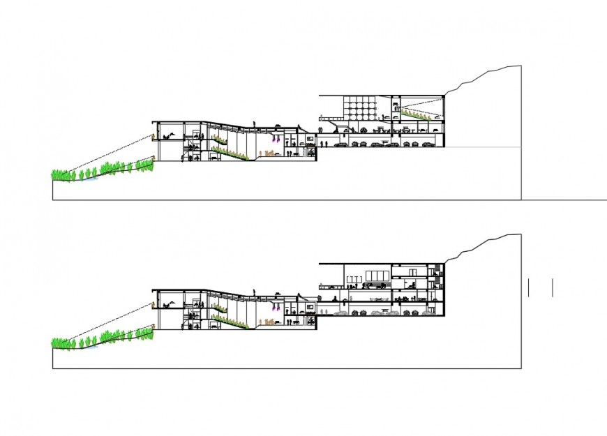 Sectional detail of auditorium building 2d view CAD block autocad file
