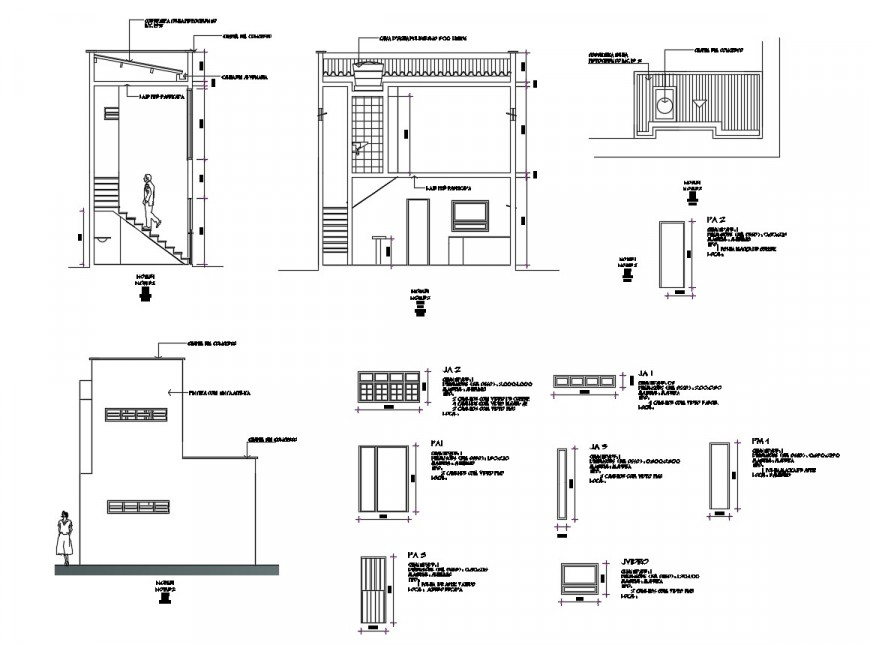 Sectional detail of commercial building in auto cad file