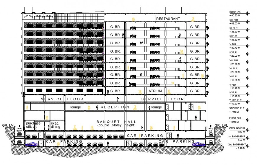 Sectional detail of high rise building block layout file in autocad format