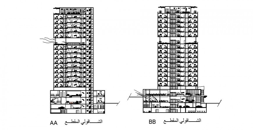 Sectional detail of high rise building units details drawing in this autocad format