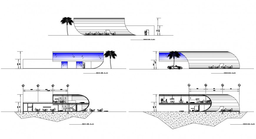Sectional detail of hotel building 2d view CAD block autocad file