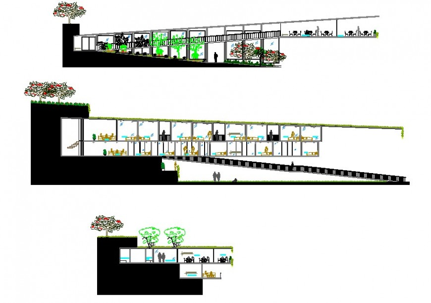 Sectional detail of hotel building 2d view layout file in dwg format,