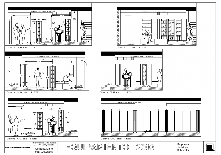 Sectional detail of library building block autocad file
