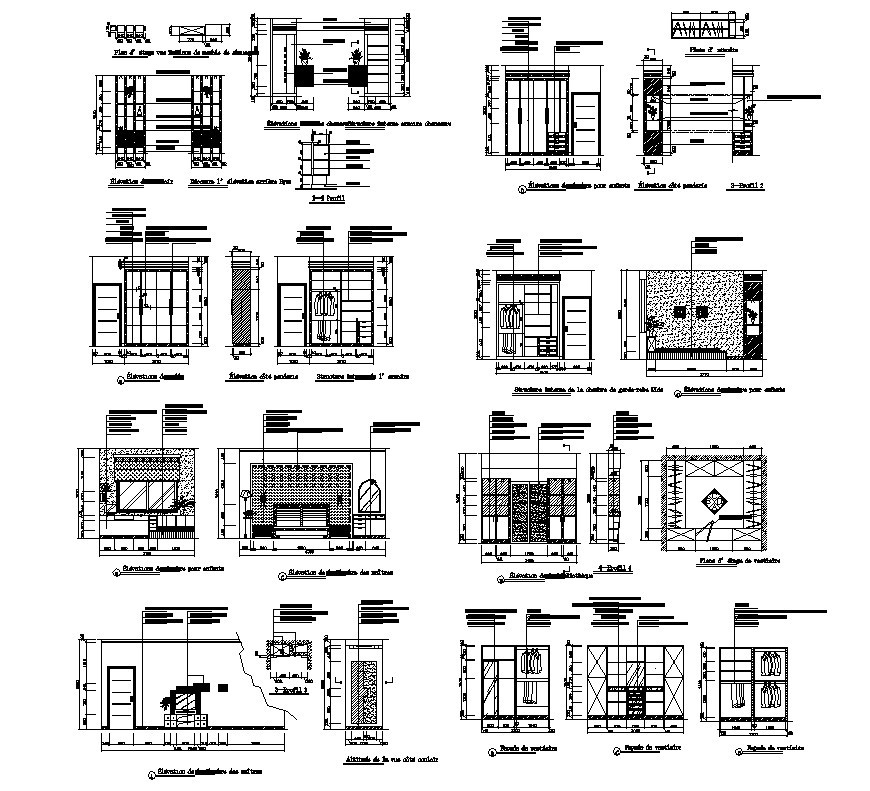 Sectional detail of living room and bed room furniture layout file in autocad format