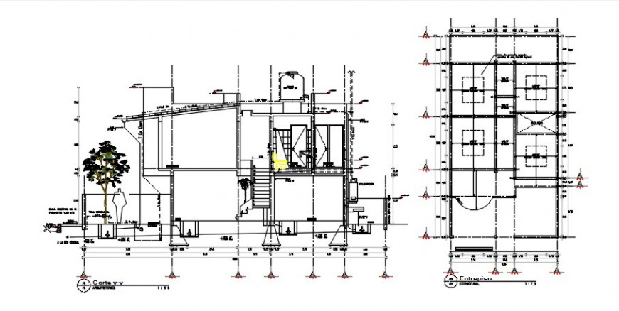 Sectional details of the house with roof plan details dwg file