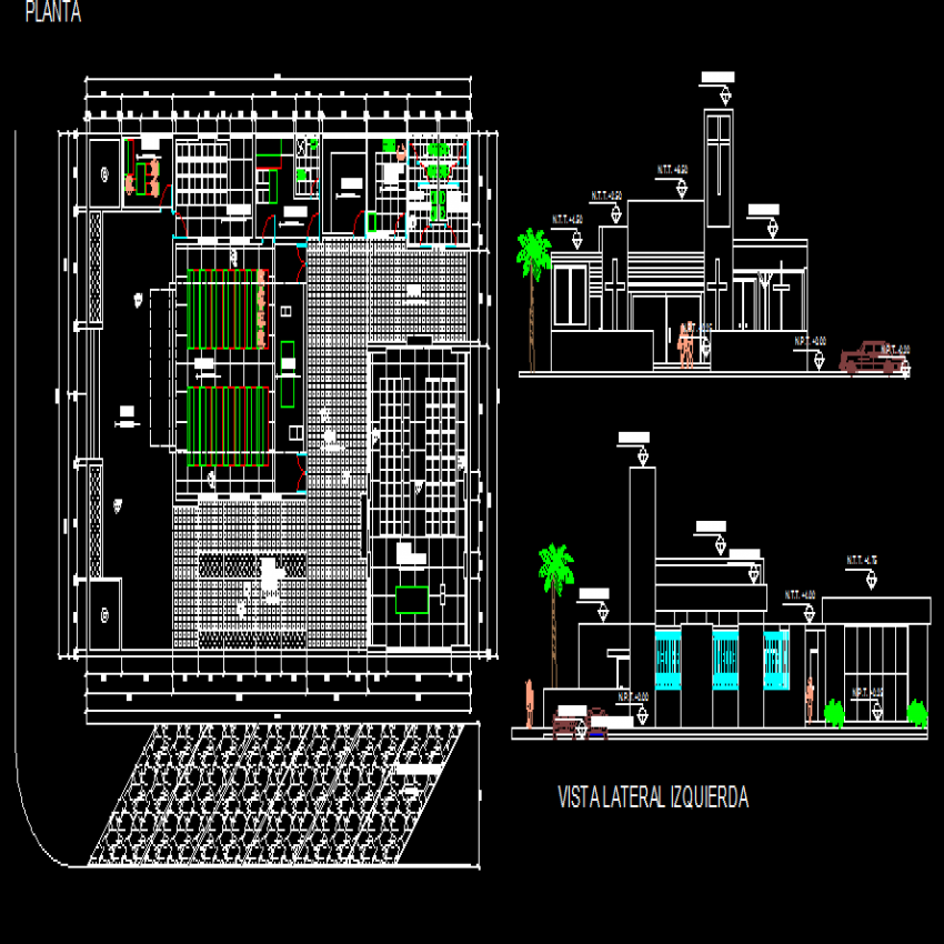 Sectional details with structural layout plan of office building dwg file