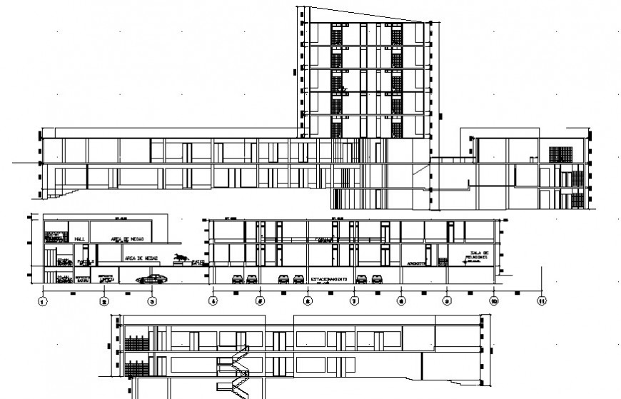 Sectional drawings details of building apartment 2d view dwg file